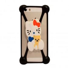 Универсальный 3D чехол-бампер Hello kitty с мишкой