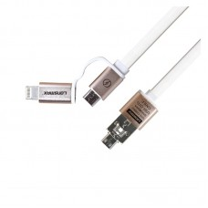 Кабель Lonsmax Micro & iPhone6 2-in-1 Metal Flat USB 1M